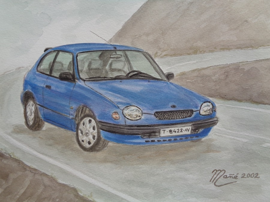 Синяя Тойота Королла серия 110 (1999-2002). Акварель Жоана Манье