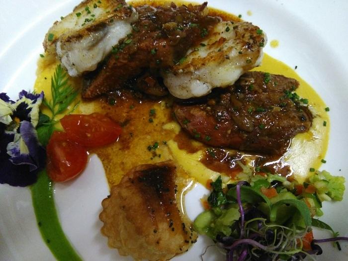 Layered monkfish veal's tongue stew