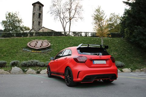 Mercedes Benz A45 AMG Santa Coloma church