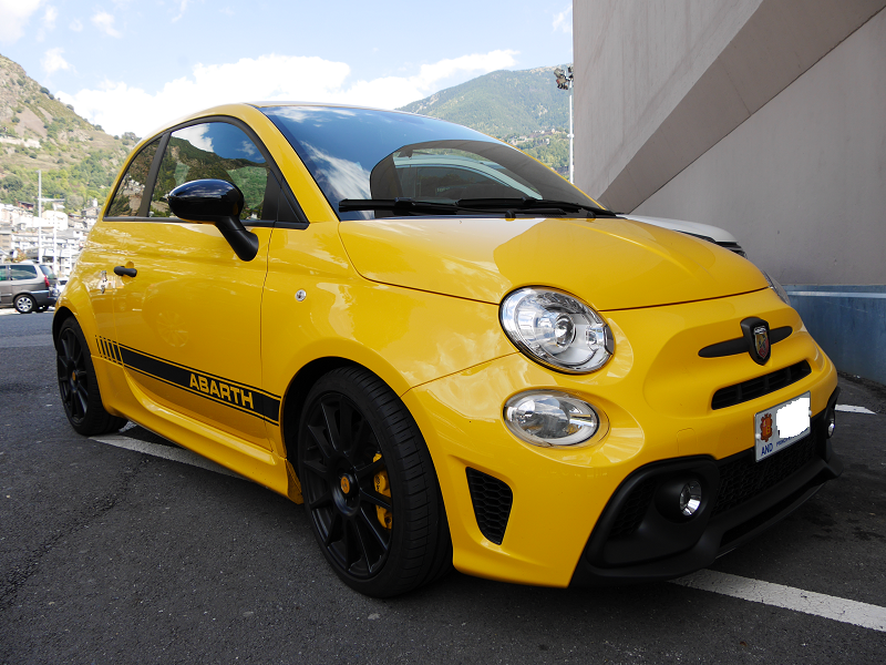 abarth 595 competizione yellow version all andorra. Black Bedroom Furniture Sets. Home Design Ideas