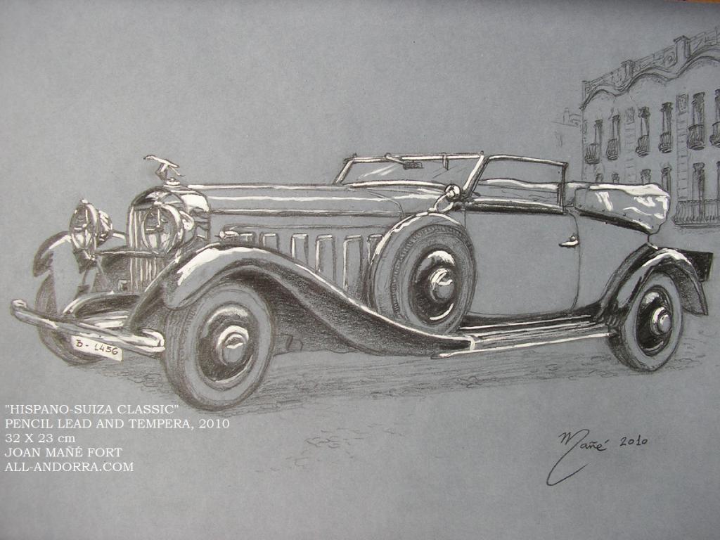 Hispano Suiza Coupe Chauffeur J12 1934 Peinture: Crayon Et Détrempe De Joan  Mañe Fort