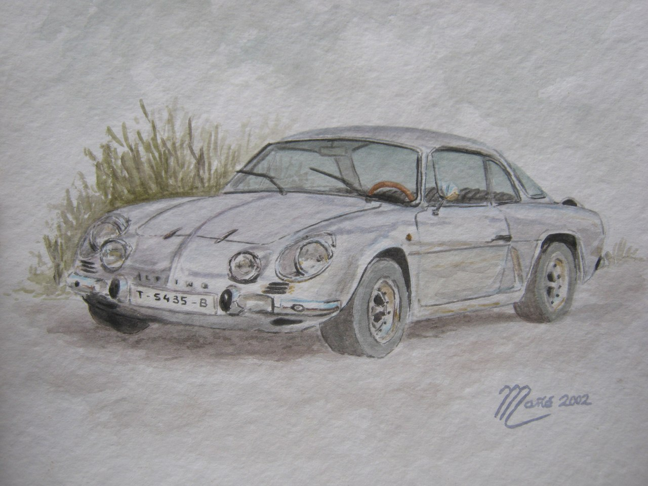 Renault Alpine A110: watercolor painting by Joan Mañé