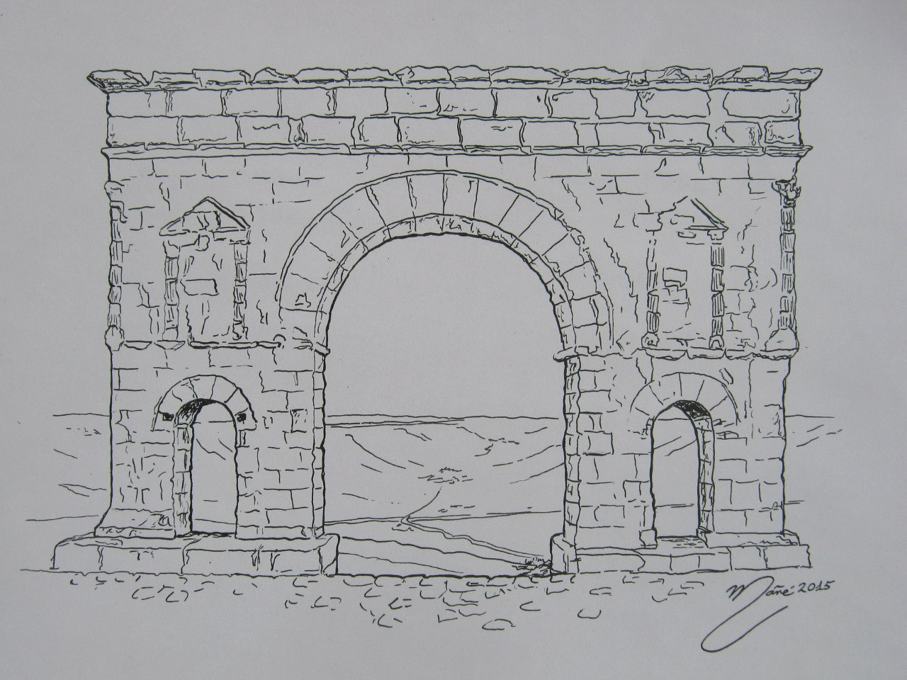 Architecture of the world the roman arch of medinaceli ink pencil drawing