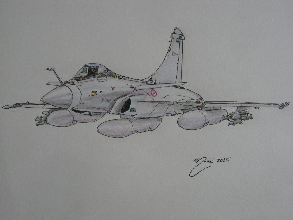 Dassault Rafale : avion de chasse polyvalent de quatrième génération de France. Dessin au crayon et à l'encre par Joan Mañé