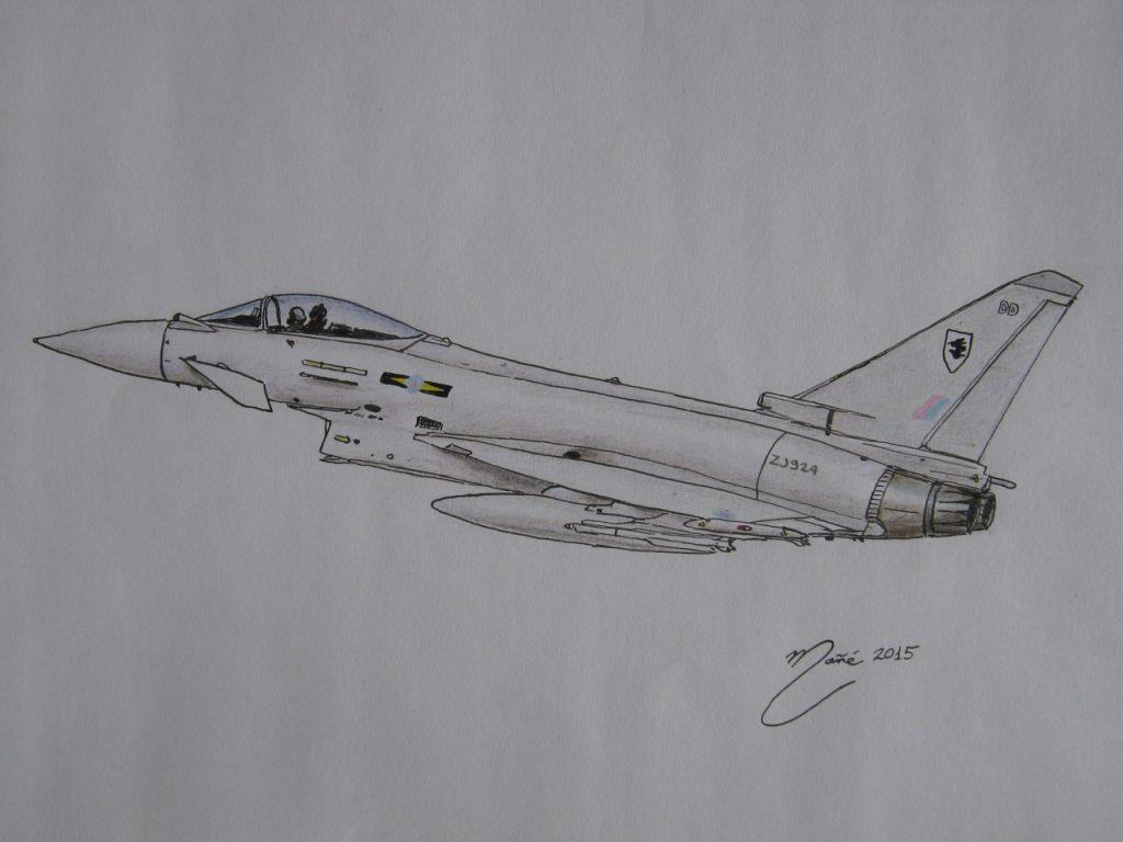 Eurofighter Typhoon : avion de chasse polyvalent de quatrième génération. Dessin au crayon et à l'encre par Joan Mañé