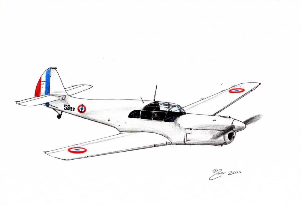 Nord 1000 Noralpha : avion de chasse monomoteur fabriqué en France. Dessin au crayon et à l'encre par Joan Mañé