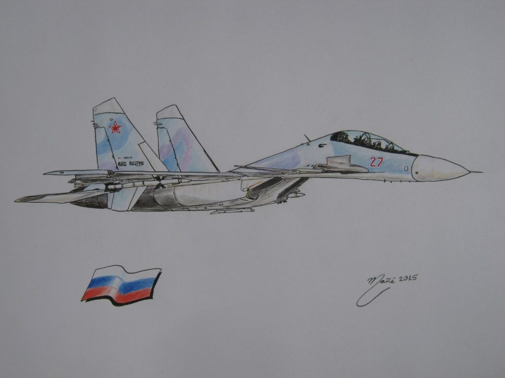 Soukhoï Su-30 : avion de chasse soviétique et russe de quatrième génération. Dessin à l'aquarelle par Joan Mañé
