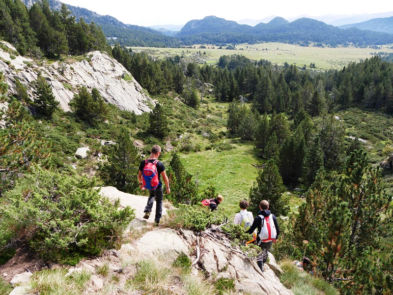Hiking routes in the Pyrenees. Carlit massif. Pyrénées-Orientales, France. Terrain orientation course