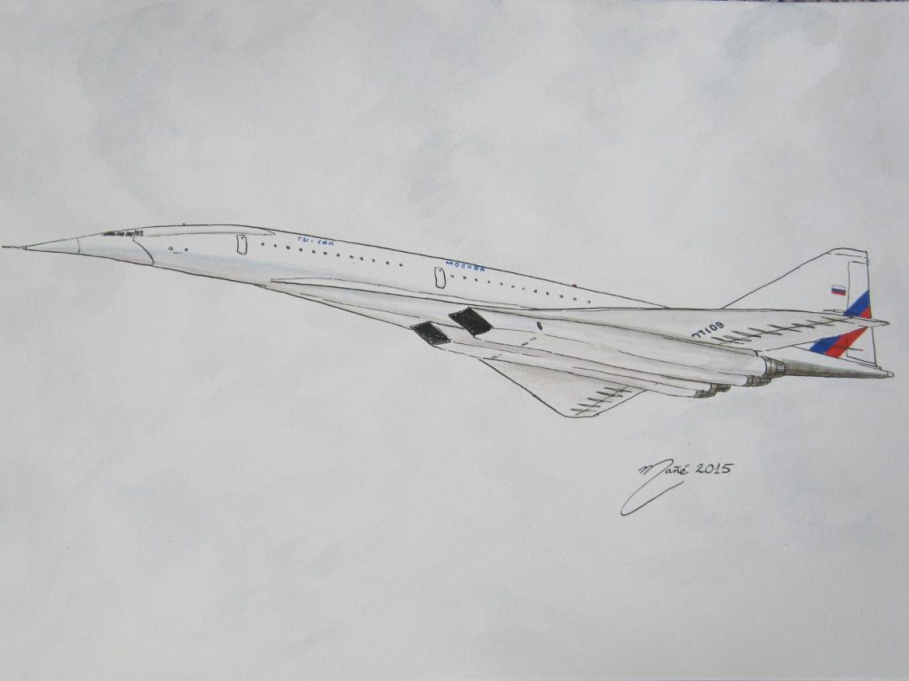 Tupolev Tu-144 (code OTAN : Charger). Avec le Concorde franco-britannique, ils sont les seuls avions civils supersoniques à avoir atteint la production. Destiné à être utilisé sur les lignes de la compagnie Aeroflot, il peut emporter, à une vitesse supérieure à Mach 2 et à une altitude de 20 000 m (65 500 ft), de 98 à 120 passagers sur une distance de 3 080 à 6 200 km selon les versions. Dessin de Joan Mañé