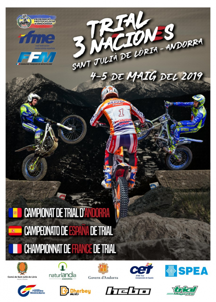 The 2019 3 nations moto-trial race will be held in Andorra on May 4 and 5