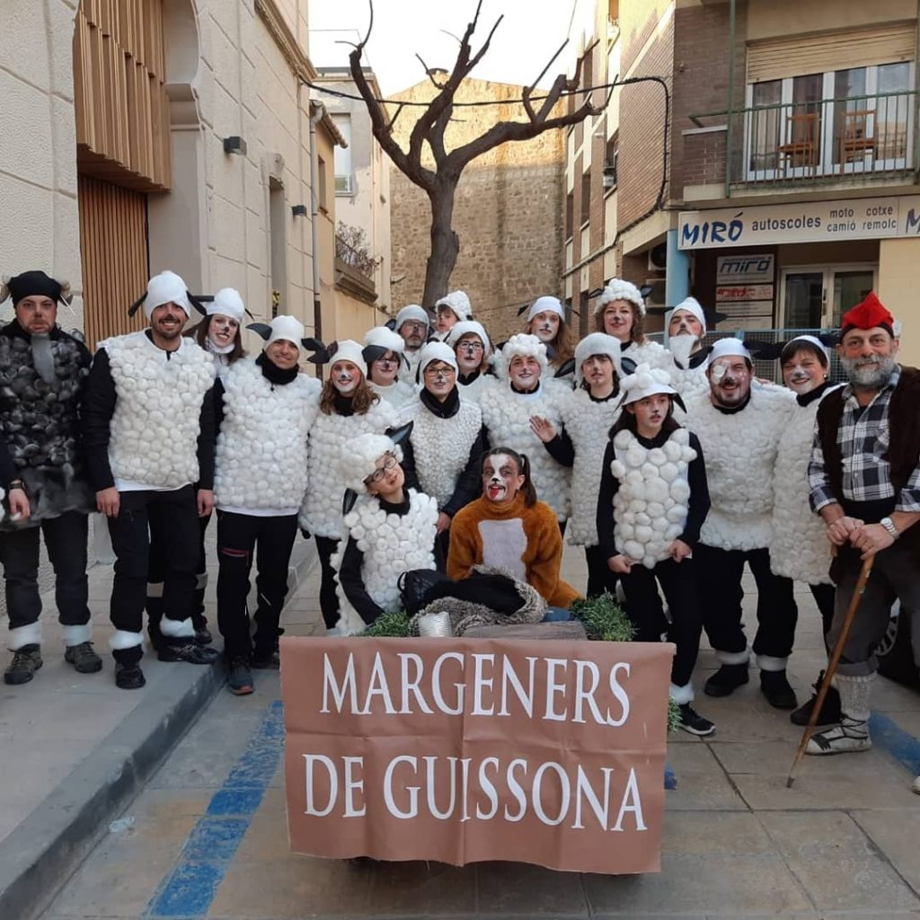 "Margeners de Guissona, the ""castell"" group constructing a human tower of Guissona (Segarra), took part in the city's carnival"