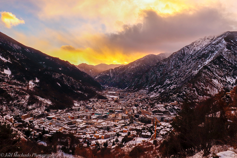 sunset winter Andorra