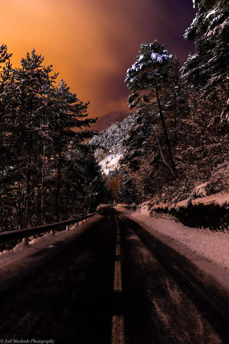 sunset in the mountains road snow winter andorra