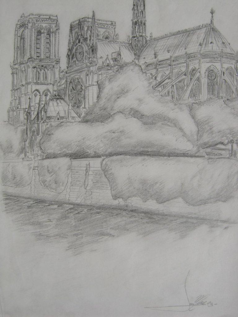 Arquitectura del món: Notre-Dame de Paris. Dibuix de tinta