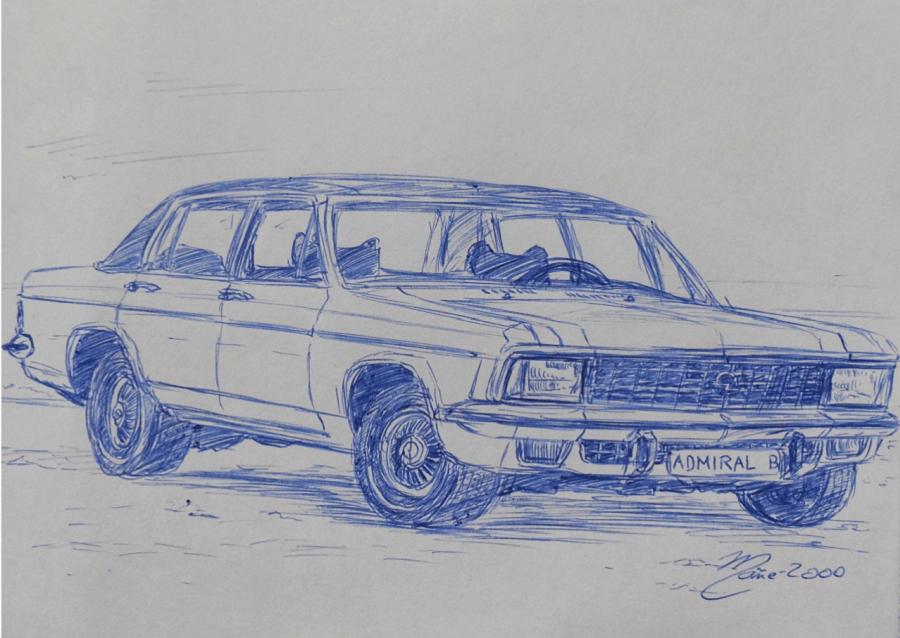Opel Admiral (1970). Pen drawing by Joan Mañé