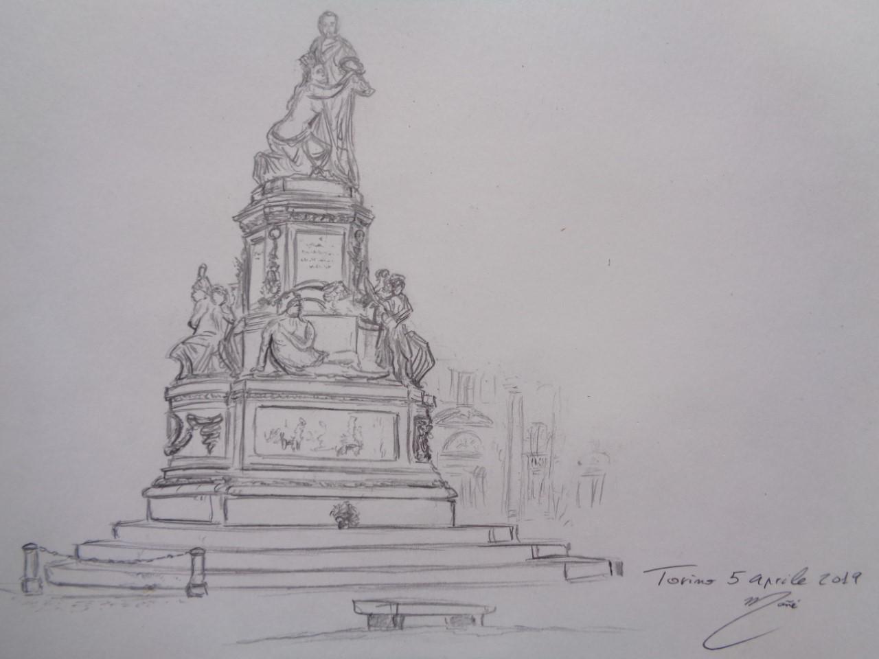 Camillo Benso monument, Piazza Carlo Emanuele II square. Torino, Italy. Dibuix de llapis