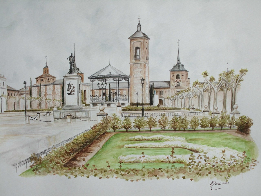 Площадь Сервантеса в Мадриде