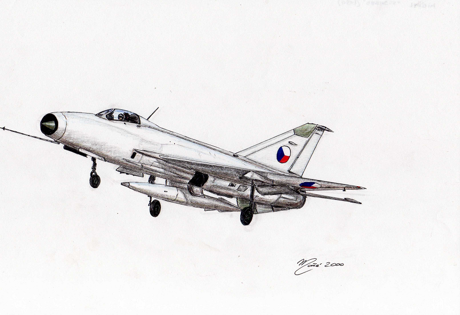 India Air Force: MiG 29  Ink and pencil drawing by Joan Mañé