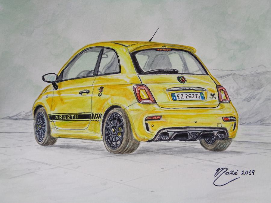 FIAT 500 ABARTH COMPETIZIONE. Желтый цвет. Акварель Жоана Манье