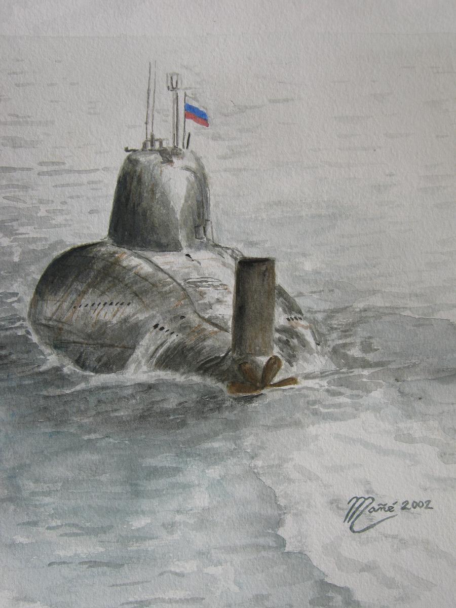 """Российская подводная лодка проекта 705 (К) """"Лира"""". Акварель Жоана Манье"""