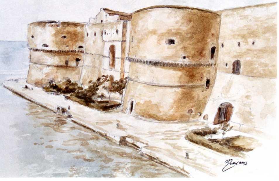 Замок города Таранто, Италия. Акварель Жоана Манье