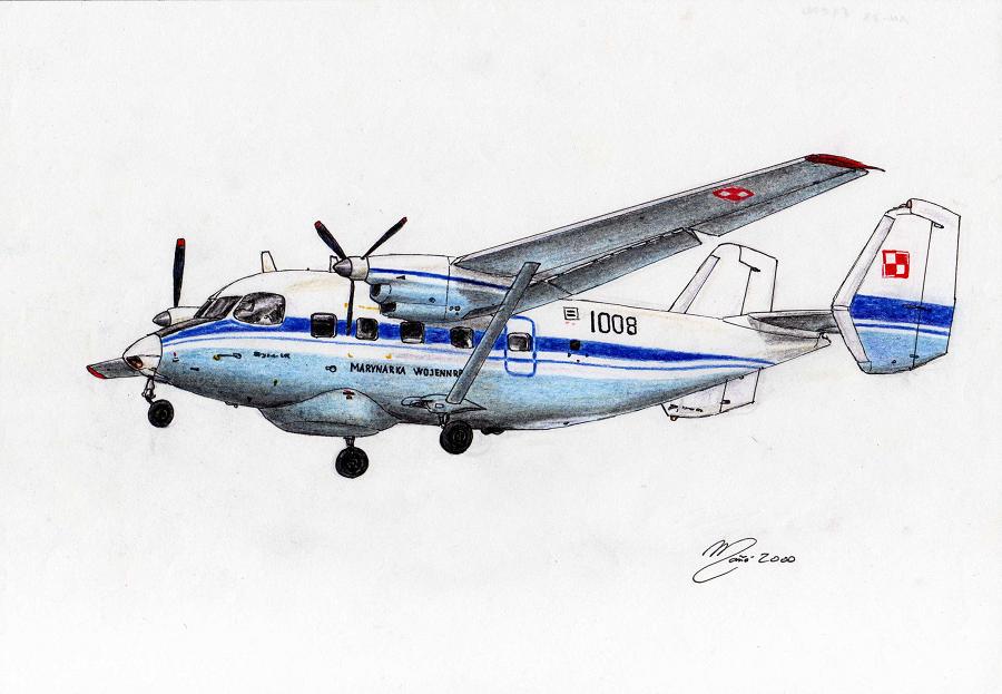Транспортная авиация Польши: Антонов Ан-28 (код НАТО: «Cash»). Рисунок тушью и карандашом Жоана Манье