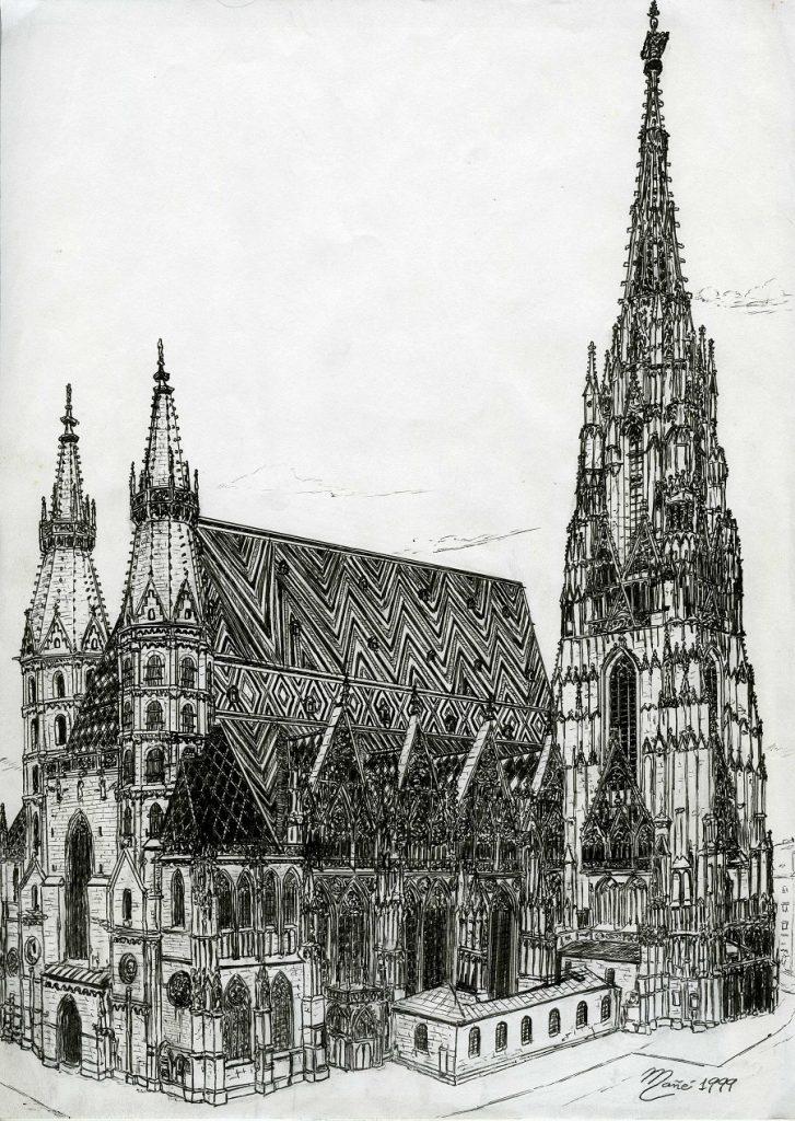 Собор Святого Стефана (Catedral Sant Esteve), Вена. Рисунок чернилами