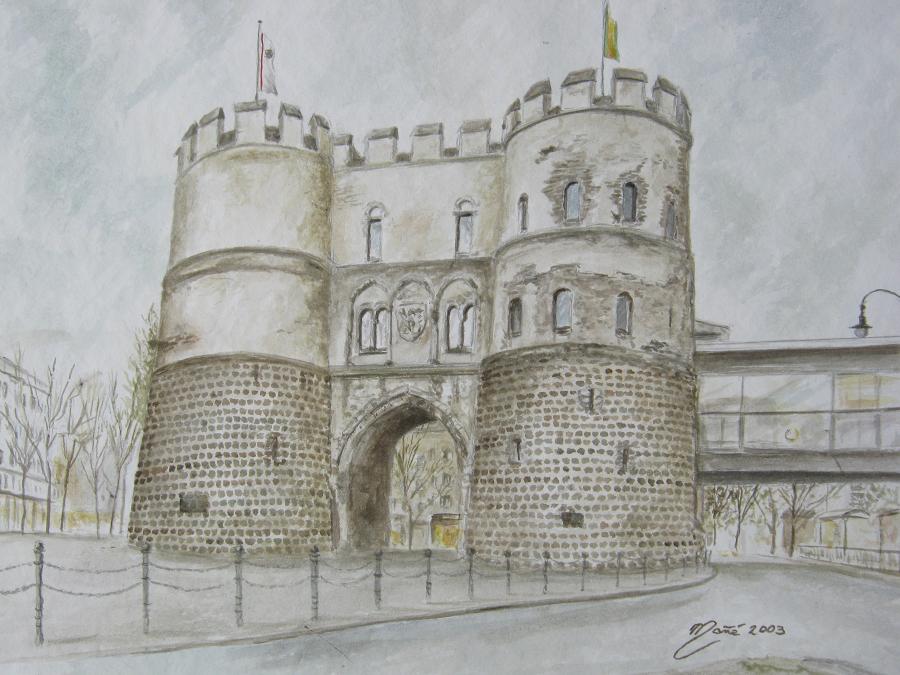 Ханенторбург, часть средневековых укреплений вокруг Кельна, Германия. Акварель Жоана Манье
