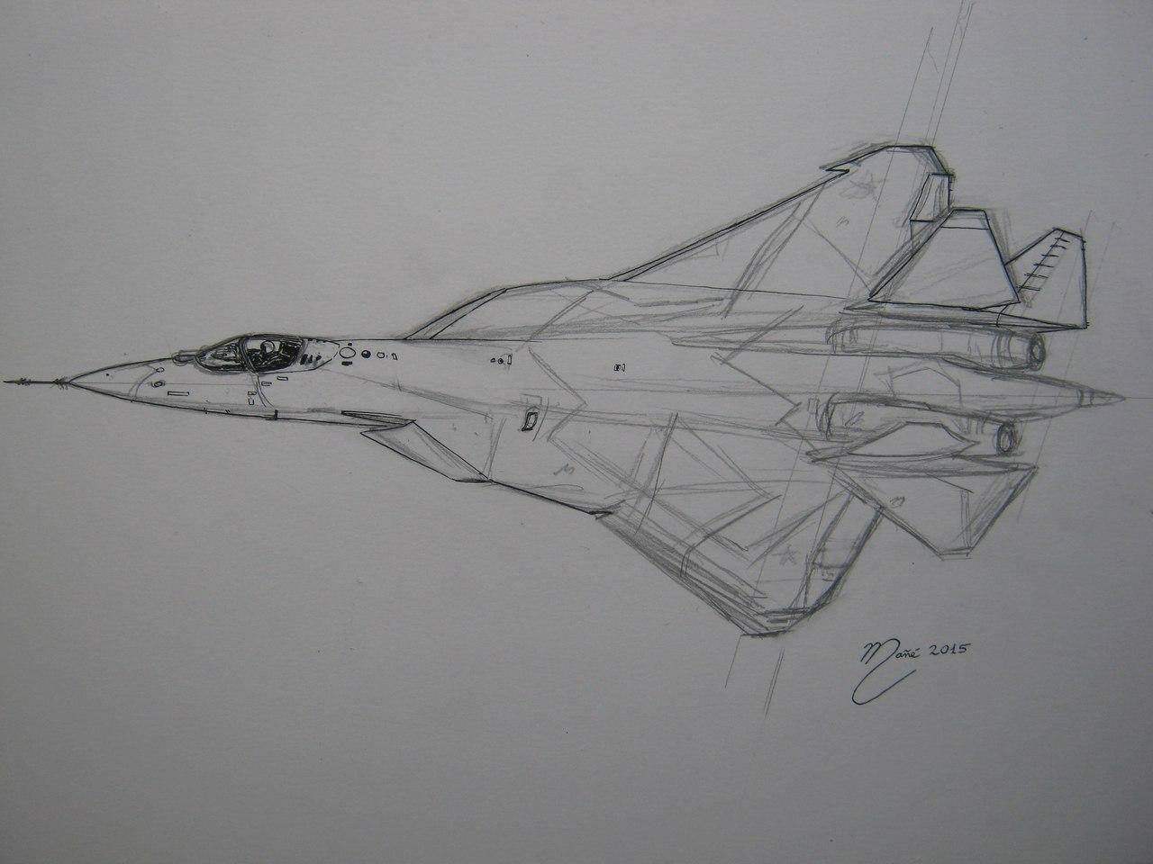 Истребитель Су 57 Т-50 (ПАК ФА). Рисунок карандашом Жоана Манье