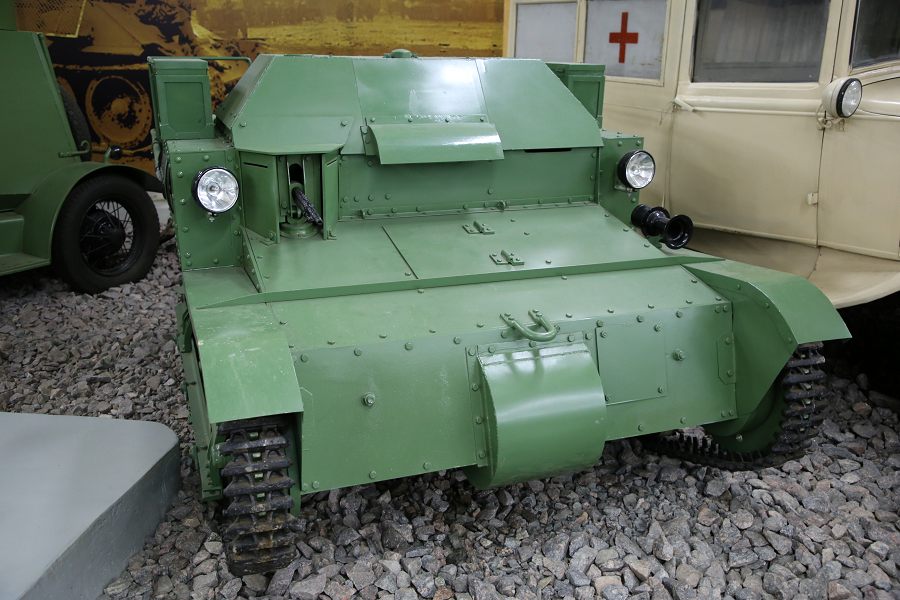 A Soviet tankette T-27 from 1931 on the base of English Carden-Loyd Mk.VI. Four cylinders, 3.28 L, 40 HP, 40 km/h