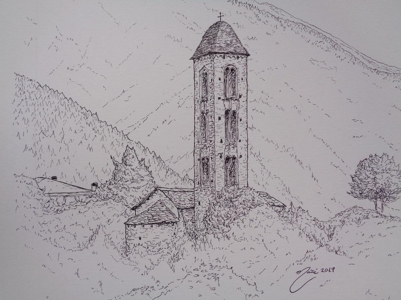 Церковь Сан Микель д'Энголастерс, Андорра. Рисунок чернилами Жоана Манье