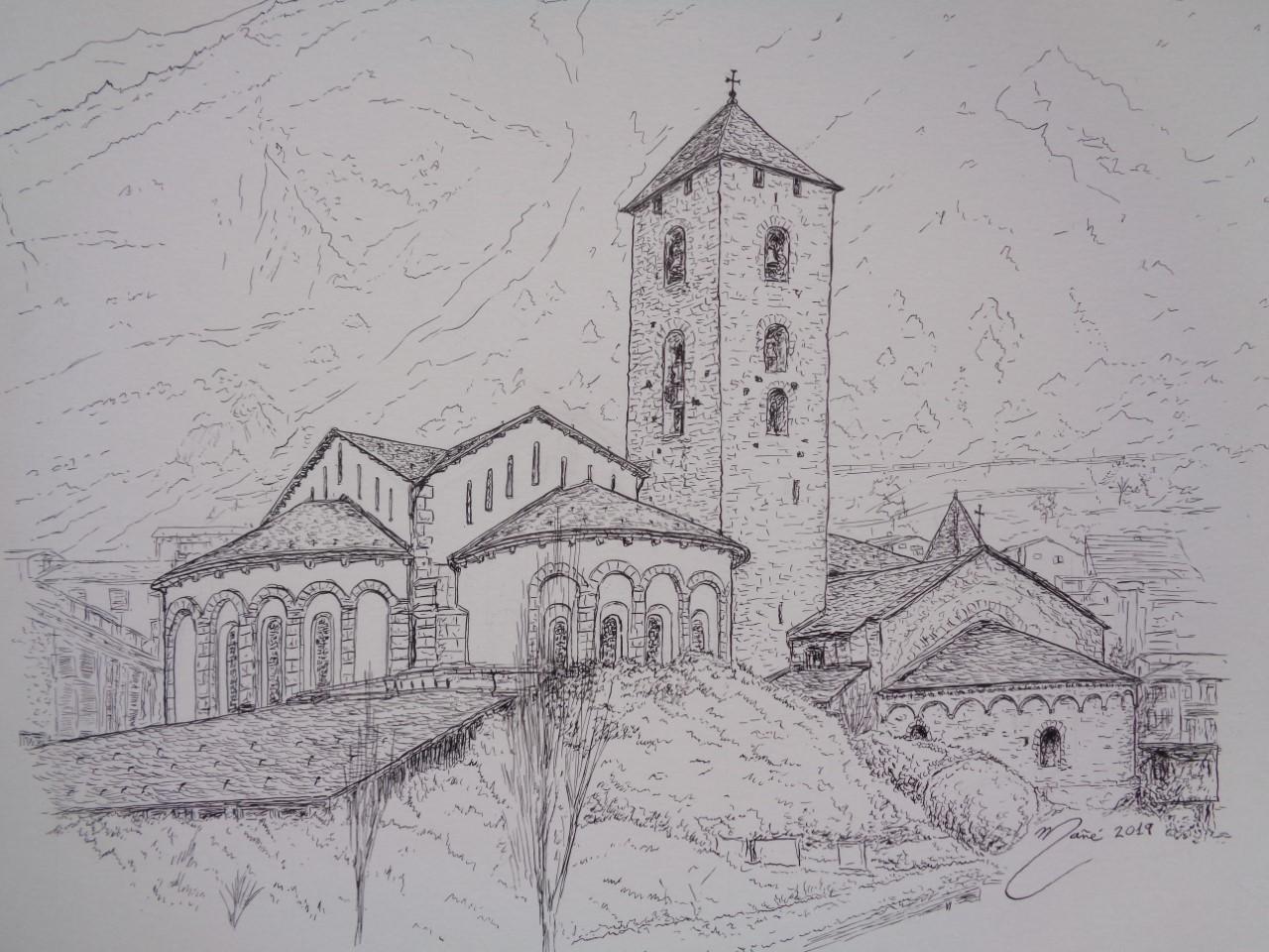 L'eglise Sant Esteve d'Andorre-la-Vieille. Dessin au crayon par Joan Mañé