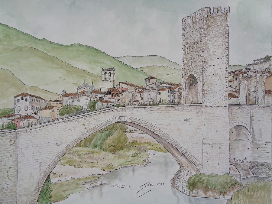 El poble de Besalú, Catalunya. Tècnica dibuix a ploma i aquarel.la