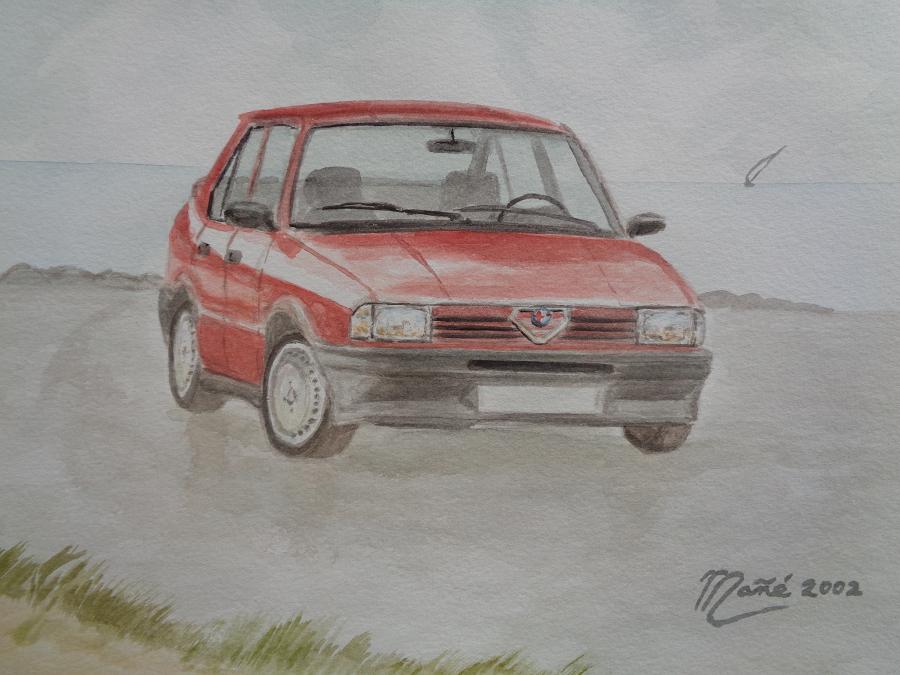 Alfa-Romeo 33 (1983-1995). Técnica aquarel.la. Dibuix de Joan Mañé