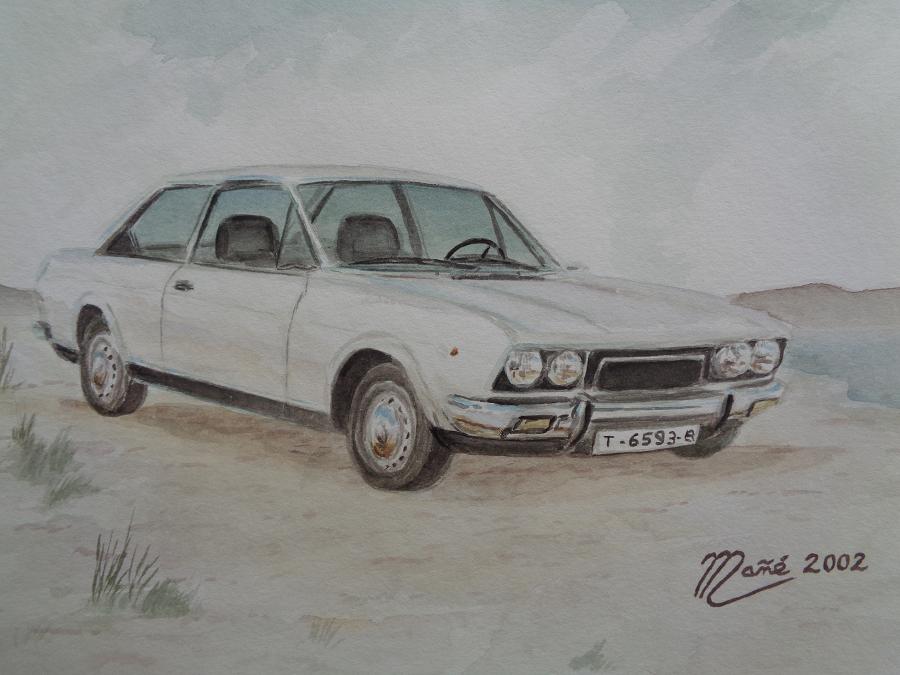 Fiat (Seat) 124 Sport Coupe (1975). Técnica aquarel.la. Dibuix de Joan Mañé