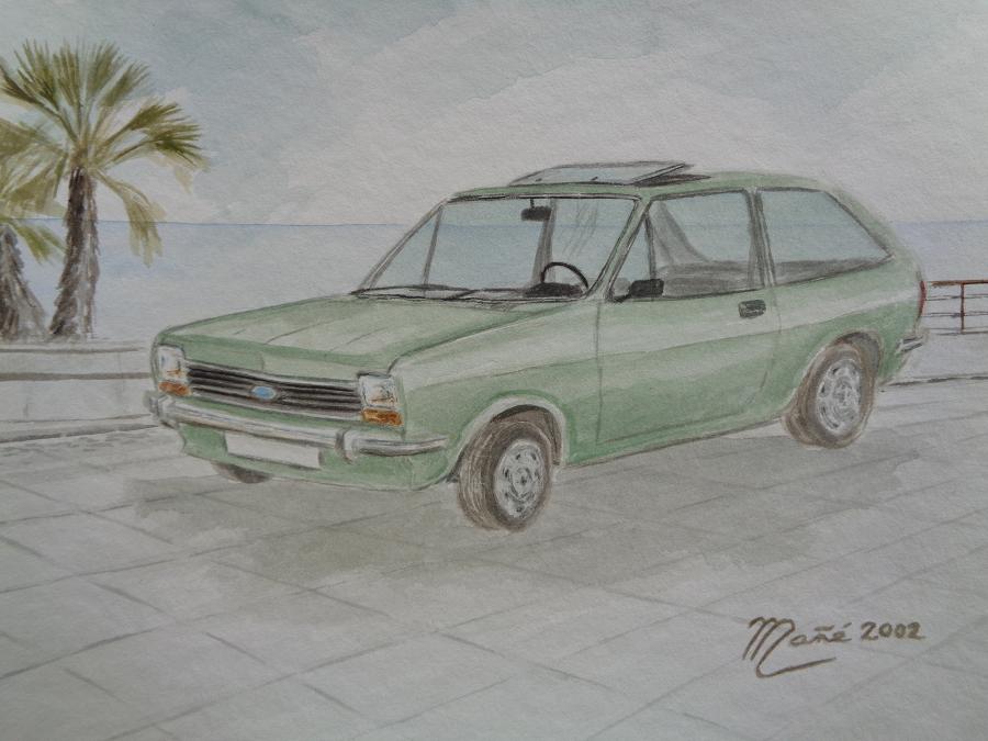 Ford Fiesta (1976). Técnica aquarel.la. Dibuix de Joan Mañé