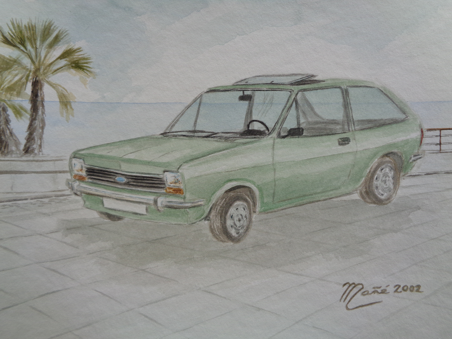 Ford Fiesta (1976). Рисунок Акварель Жоана Манье