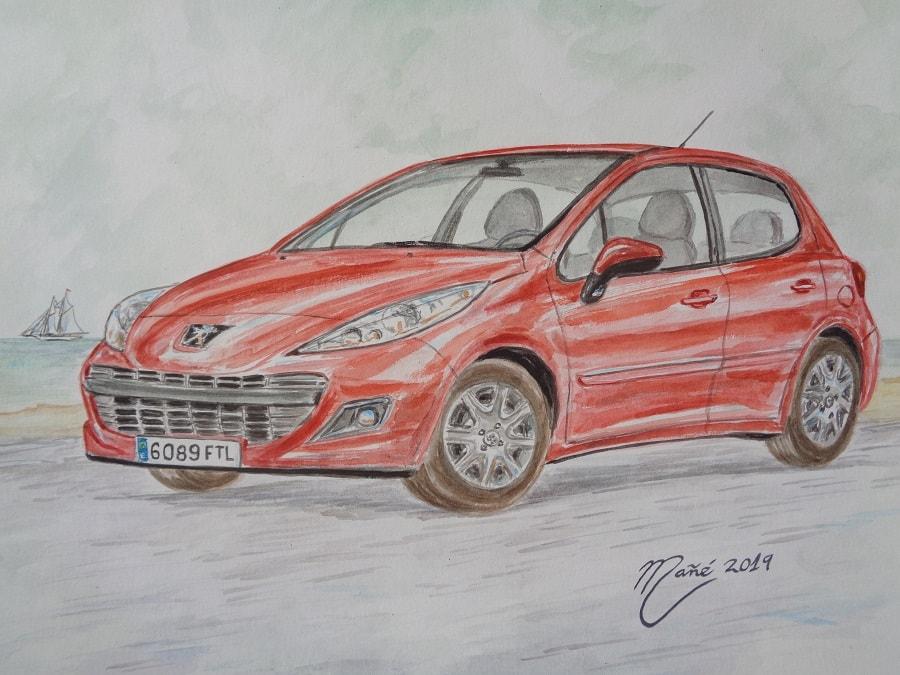 Peugeot 207 (2006). Aquarel·la de Joan Mañé