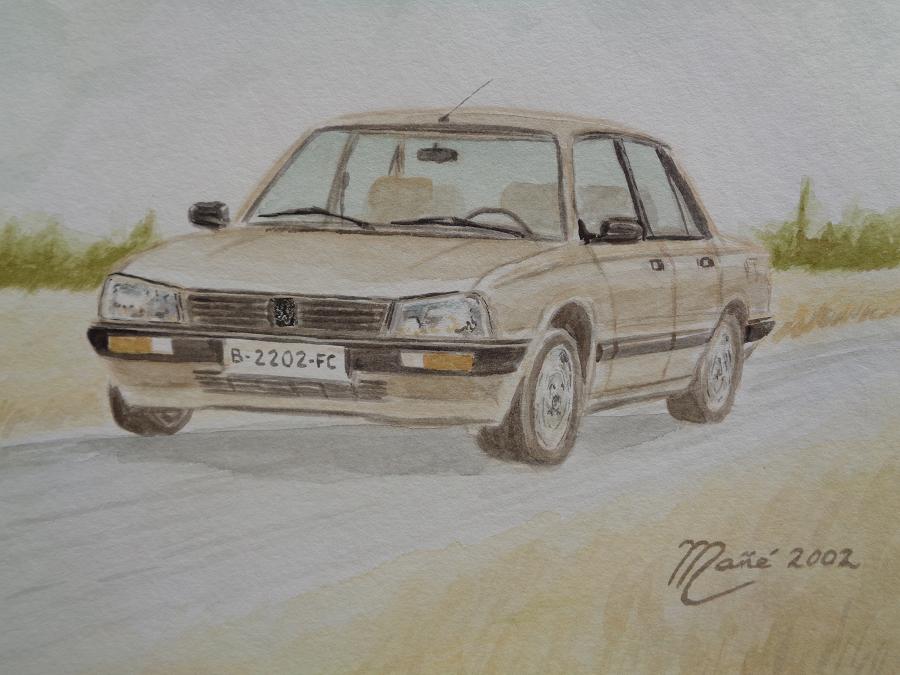Peugeot 505 (1980). Técnica aquarel.la. Dibuix de Joan Mañé