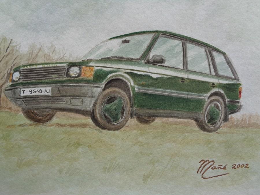 Range Rover 4x4. Aquarelle de Joan Mañé