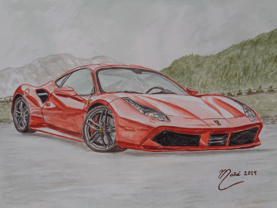 Ferrari 488 GTB. Técnica aquarel.la. Dibuix de Joan Mañé