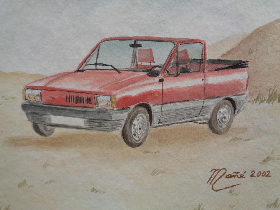 Красный Фиат (Сеат) Панда Кабриолет (1980). Акварель Жоана Манье