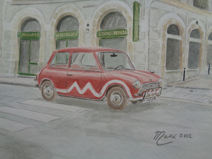 Красный Mini Cooper (модель 1970). Акварель Жоана Манье