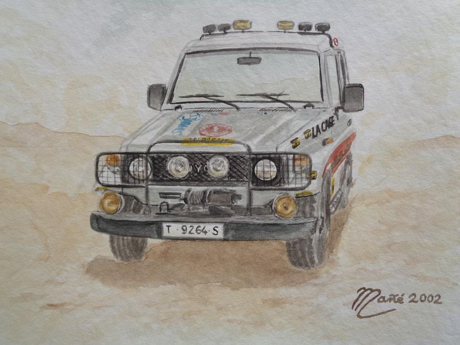 Toyota Land Cruiser Serie 70. Aquarelle de Joan Mañé. Fait en 1984