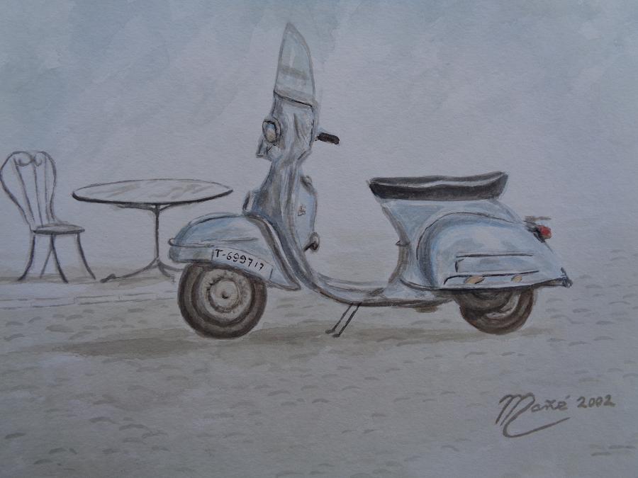 Vespa Scooter. Técnica aquarel.la. Dibuix de Joan Mañé