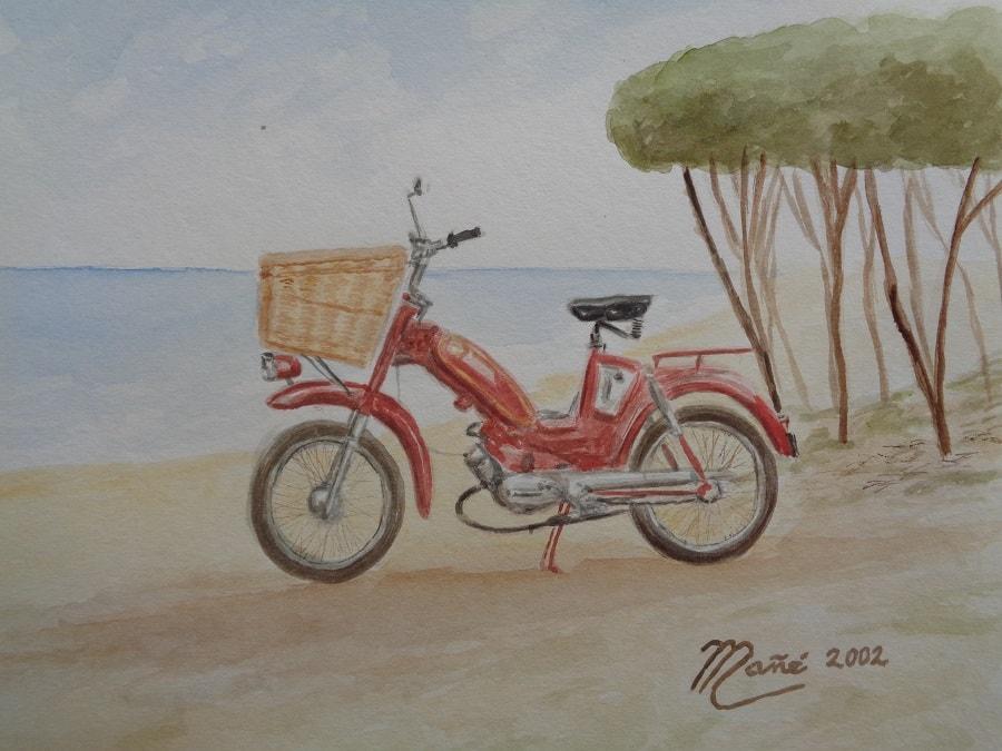 Montesa 49 cc. Aquarelle de Joan Mañé