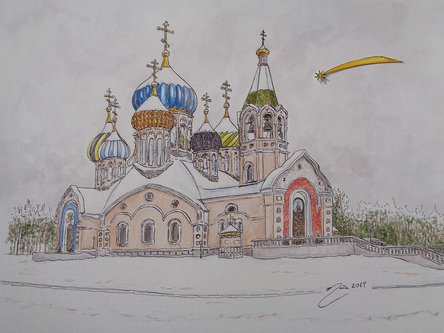 Nadal a St. Igor de Chernigov, Rússia. Tècnica mixta de aquarel.la i dibuix a ploma de Joan Mañé