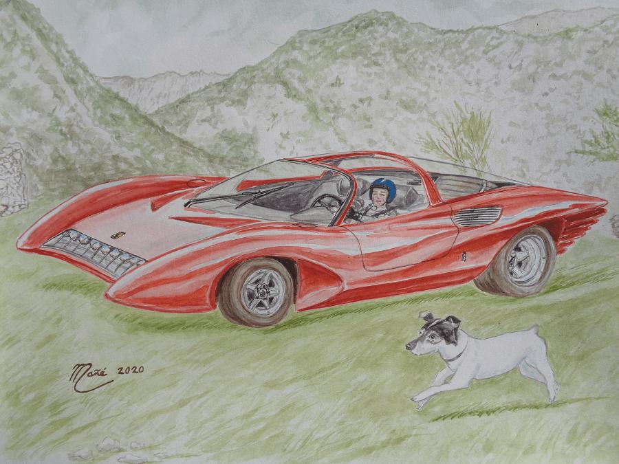 Красная Феррари 250 П 5 (1968). Акварель Жоана Манье