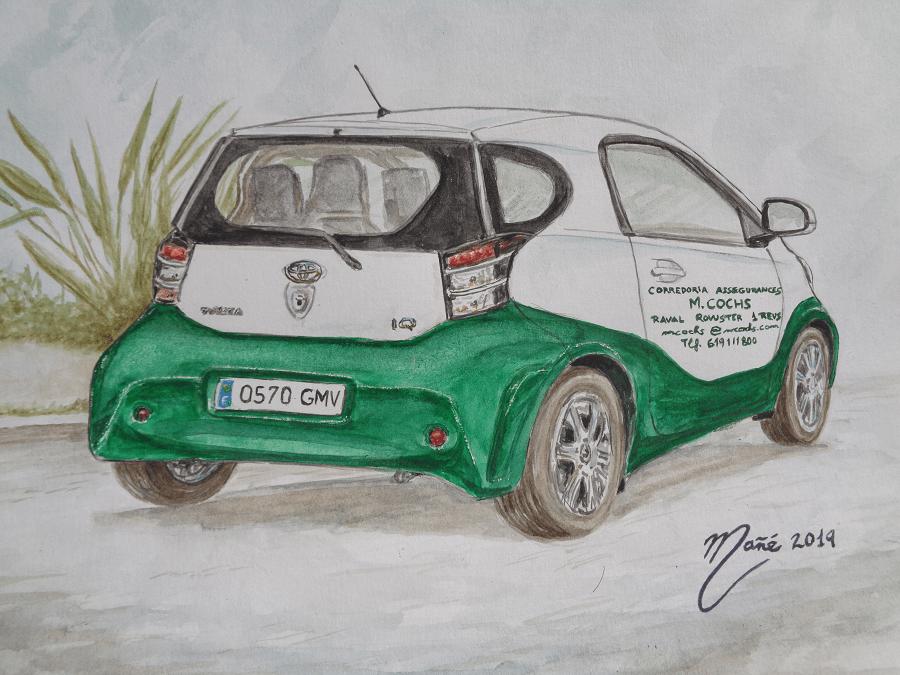 Toyota iQ. Técnica  aquarel.la de Joan Mañé