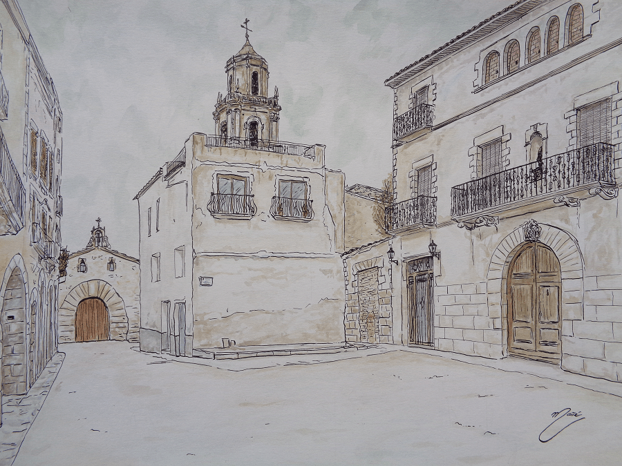 Vilalba dels Arcs. Técnica dibuix a ploma i aquarel.la de Joan Mañé